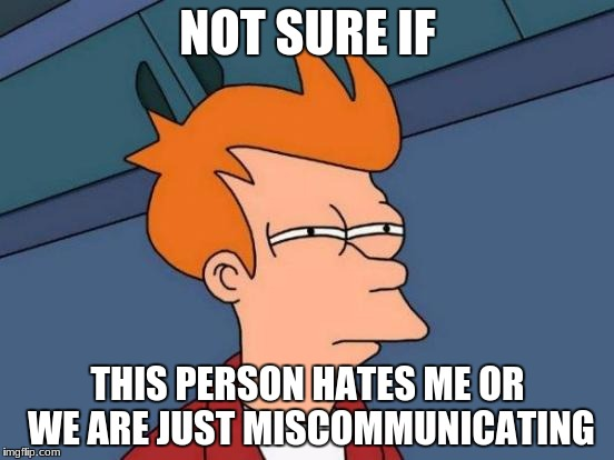 hi? no? okay. | NOT SURE IF THIS PERSON HATES ME OR WE ARE JUST MISCOMMUNICATING | image tagged in memes,futurama fry | made w/ Imgflip meme maker