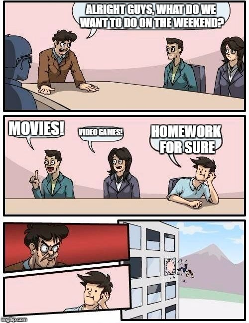 Boardroom Meeting Suggestion Meme | ALRIGHT GUYS, WHAT DO WE WANT TO DO ON THE WEEKEND? MOVIES! VIDEO GAMES! HOMEWORK FOR SURE | image tagged in memes,boardroom meeting suggestion | made w/ Imgflip meme maker