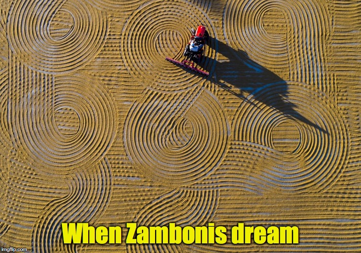 Oh for a day without ice... | When Zambonis dream | image tagged in zamboni,tractor | made w/ Imgflip meme maker