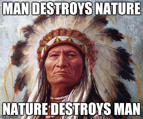 Chief Sitting Bull | MAN DESTROYS NATURE NATURE DESTROYS MAN | image tagged in chief sitting bull | made w/ Imgflip meme maker
