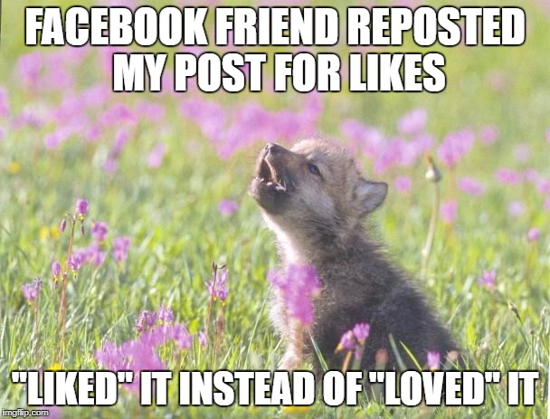 "Baby Insanity Wolf Meme | FACEBOOK FRIEND REPOSTED MY POST FOR LIKES ""LIKED"" IT INSTEAD OF ""LOVED"" IT 