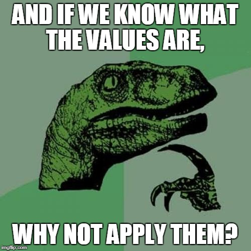 Philosoraptor Meme | AND IF WE KNOW WHAT THE VALUES ​​ARE, WHY NOT APPLY THEM? | image tagged in memes,philosoraptor | made w/ Imgflip meme maker