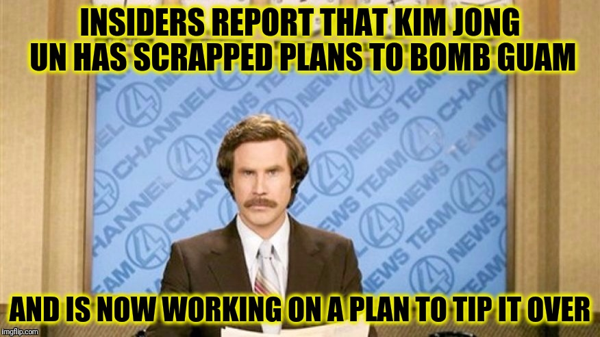 Meanwhile Hank Johnson has sponsored a bill that would fund the purchase 200,000 life preservers  | INSIDERS REPORT THAT KIM JONG UN HAS SCRAPPED PLANS TO BOMB GUAM AND IS NOW WORKING ON A PLAN TO TIP IT OVER | image tagged in hank johnson,guam,capsize,ron burgundy | made w/ Imgflip meme maker