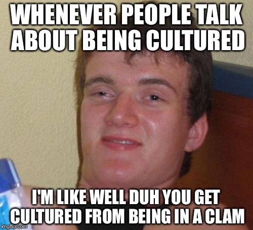 10 Guy Meme | WHENEVER PEOPLE TALK ABOUT BEING CULTURED I'M LIKE WELL DUH YOU GET CULTURED FROM BEING IN A CLAM | image tagged in memes,10 guy | made w/ Imgflip meme maker