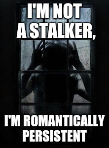 Just Wanna Love Ya | I'M NOT A STALKER, I'M ROMANTICALLY PERSISTENT | image tagged in window stalker,funny memes | made w/ Imgflip meme maker