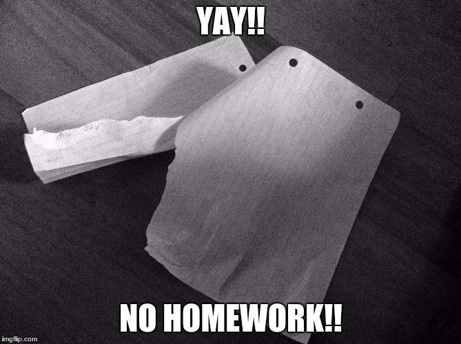 What do you first think when you see this? | YAY!! NO HOMEWORK!! | image tagged in homework,first thought,school | made w/ Imgflip meme maker