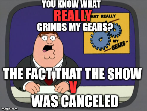 I think Netflix should pick it back up | YOU KNOW WHAT REALLY GRINDS MY GEARS? THE FACT THAT THE SHOW V WAS CANCELED | image tagged in memes,peter griffin news | made w/ Imgflip meme maker
