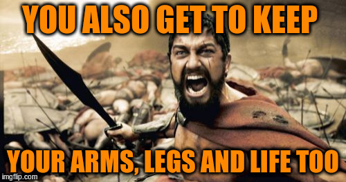 Sparta Leonidas Meme | YOU ALSO GET TO KEEP YOUR ARMS, LEGS AND LIFE TOO | image tagged in memes,sparta leonidas | made w/ Imgflip meme maker