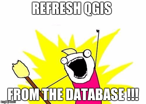 X All The Y Meme | REFRESH QGIS FROM THE DATABASE !!! | image tagged in memes,x all the y | made w/ Imgflip meme maker