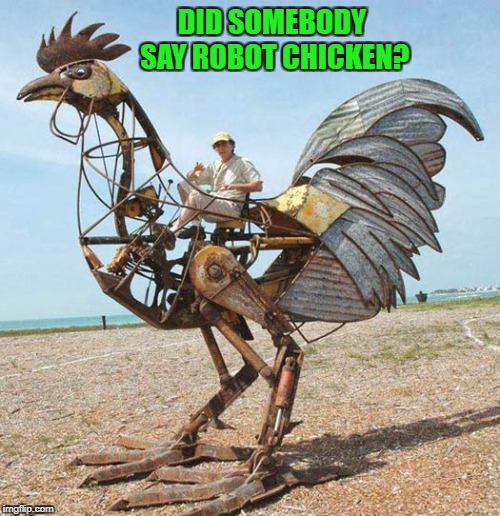 For all you Robot Chicken fans out there!!! | DID SOMEBODY SAY ROBOT CHICKEN? | image tagged in robot chicken,memes,chicken,funny,fun toys,robot | made w/ Imgflip meme maker
