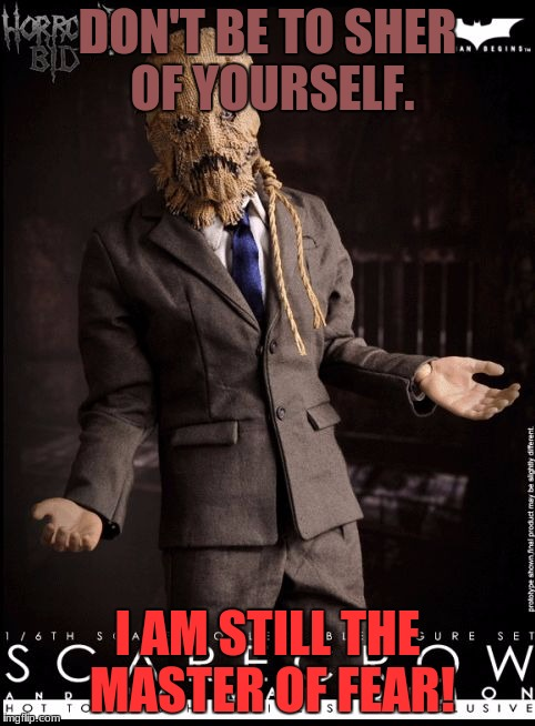 ScareCrow Talk! | DON'T BE TO SHER OF YOURSELF. I AM STILL THE MASTER OF FEAR! | image tagged in scarecrow talk | made w/ Imgflip meme maker