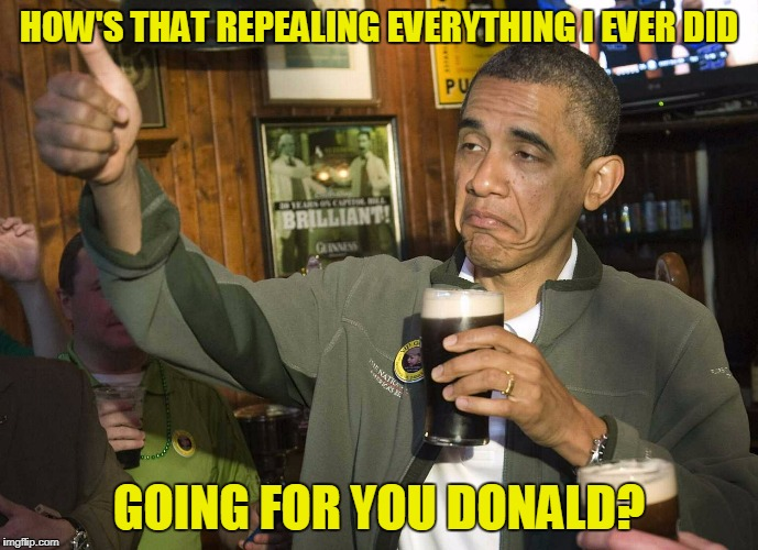 HOW'S THAT REPEALING EVERYTHING I EVER DID GOING FOR YOU DONALD? | made w/ Imgflip meme maker