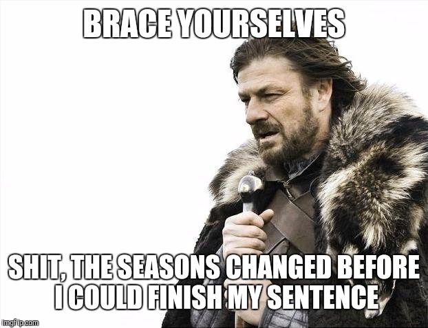 Brace Yourselves X is Coming Meme | BRACE YOURSELVES SHIT, THE SEASONS CHANGED BEFORE I COULD FINISH MY SENTENCE | image tagged in memes,brace yourselves x is coming | made w/ Imgflip meme maker