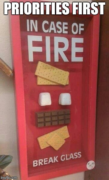 Emergency smores | PRIORITIES FIRST | image tagged in emergency smores | made w/ Imgflip meme maker