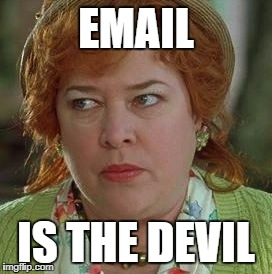 waterboy mom | EMAIL IS THE DEVIL | image tagged in waterboy mom | made w/ Imgflip meme maker