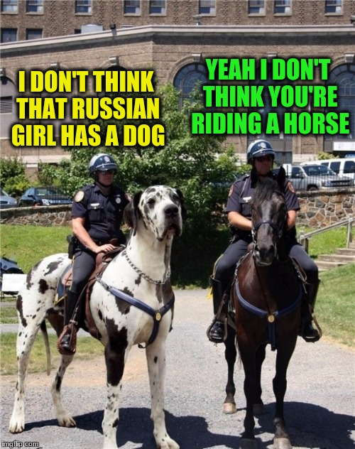I DON'T THINK THAT RUSSIAN GIRL HAS A DOG YEAH I DON'T THINK YOU'RE RIDING A HORSE | made w/ Imgflip meme maker