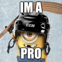 Hockey Minion | IM A PRO | image tagged in hockey minion | made w/ Imgflip meme maker