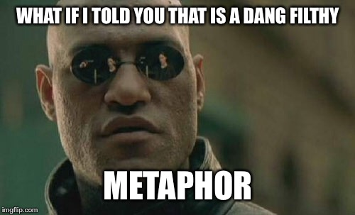 Matrix Morpheus Meme | WHAT IF I TOLD YOU THAT IS A DANG FILTHY METAPHOR | image tagged in memes,matrix morpheus | made w/ Imgflip meme maker