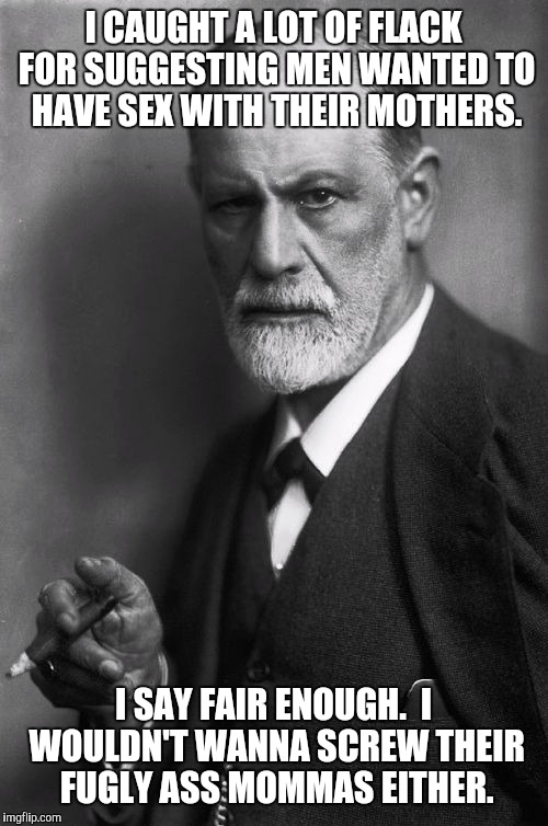 Not a Freudian Slip | I CAUGHT A LOT OF FLACK FOR SUGGESTING MEN WANTED TO HAVE SEX WITH THEIR MOTHERS. I SAY FAIR ENOUGH.  I WOULDN'T WANNA SCREW THEIR FUGLY ASS | image tagged in memes,sigmund freud | made w/ Imgflip meme maker