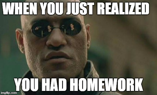 Matrix Morpheus Meme | WHEN YOU JUST REALIZED YOU HAD HOMEWORK | image tagged in memes,matrix morpheus | made w/ Imgflip meme maker
