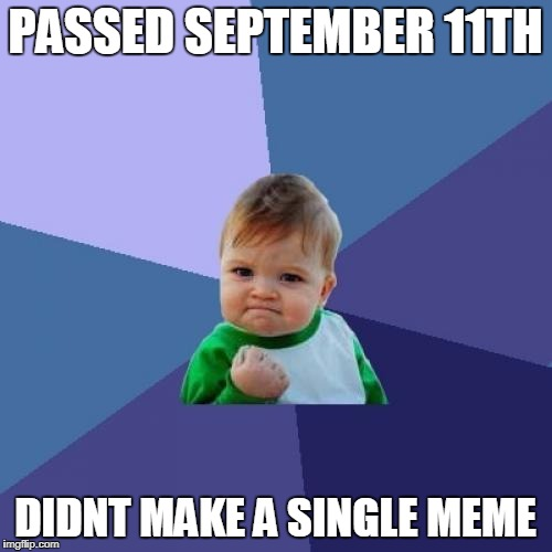 Success Kid Meme | PASSED SEPTEMBER 11TH DIDNT MAKE A SINGLE MEME | image tagged in memes,success kid | made w/ Imgflip meme maker