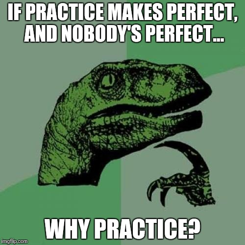 Practical Perfection | IF PRACTICE MAKES PERFECT, AND NOBODY'S PERFECT… WHY PRACTICE? | image tagged in memes,philosoraptor,funny | made w/ Imgflip meme maker