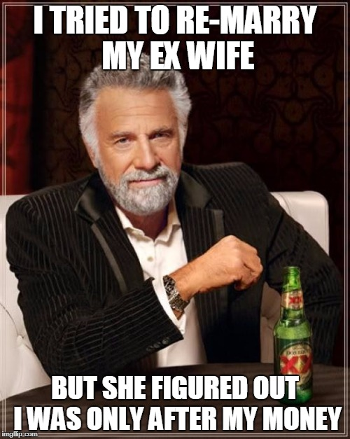 The Most Interesting Man In The World |  I TRIED TO RE-MARRY MY EX WIFE; BUT SHE FIGURED OUT I WAS ONLY AFTER MY MONEY | image tagged in memes,the most interesting man in the world | made w/ Imgflip meme maker