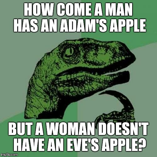 #ChurchOfBiology | HOW COME A MAN HAS AN ADAM'S APPLE BUT A WOMAN DOESN'T HAVE AN EVE'S APPLE? | image tagged in memes,philosoraptor,adam and eve,genders,adam's apple,men and women | made w/ Imgflip meme maker