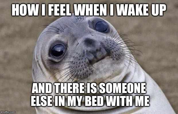 Awkward Moment Sealion Meme | HOW I FEEL WHEN I WAKE UP AND THERE IS SOMEONE ELSE IN MY BED WITH ME | image tagged in memes,awkward moment sealion | made w/ Imgflip meme maker
