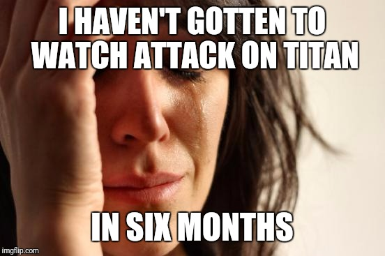 First World Problems Meme | I HAVEN'T GOTTEN TO WATCH ATTACK ON TITAN IN SIX MONTHS | image tagged in memes,first world problems | made w/ Imgflip meme maker