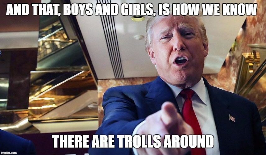 Trump Burn | AND THAT, BOYS AND GIRLS, IS HOW WE KNOW THERE ARE TROLLS AROUND | image tagged in trump burn | made w/ Imgflip meme maker