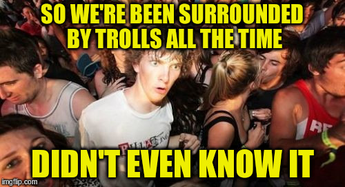 SO WE'RE BEEN SURROUNDED BY TROLLS ALL THE TIME DIDN'T EVEN KNOW IT | made w/ Imgflip meme maker
