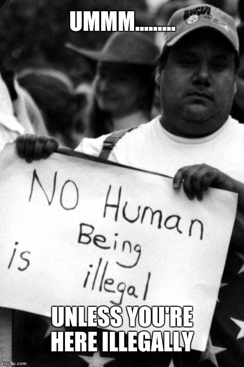 UNLESS YOU'RE HERE ILLEGALLY UMMM......... | image tagged in retarded liberal protesters,protesters,daca,stupid liberals | made w/ Imgflip meme maker