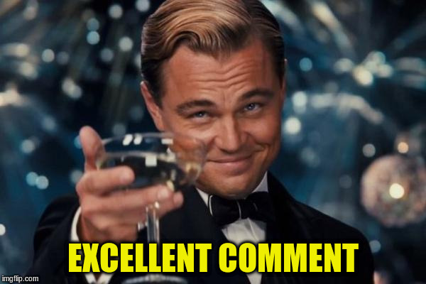 Leonardo Dicaprio Cheers Meme | EXCELLENT COMMENT | image tagged in memes,leonardo dicaprio cheers | made w/ Imgflip meme maker