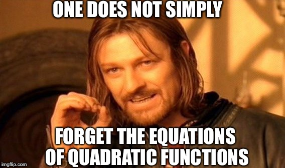 One Does Not Simply Meme | ONE DOES NOT SIMPLY FORGET THE EQUATIONS OF QUADRATIC FUNCTIONS | image tagged in memes,one does not simply | made w/ Imgflip meme maker