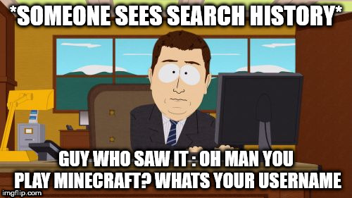 Aaaaand Its Gone Meme | *SOMEONE SEES SEARCH HISTORY* GUY WHO SAW IT : OH MAN YOU PLAY MINECRAFT? WHATS YOUR USERNAME | image tagged in memes,aaaaand its gone | made w/ Imgflip meme maker