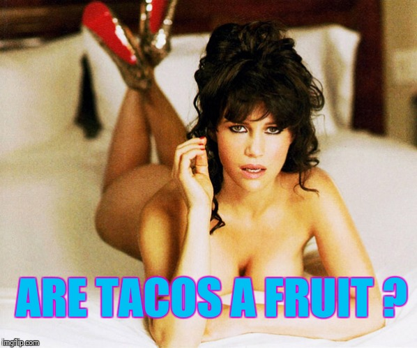 Carla Gugino | ARE TACOS A FRUIT ? | image tagged in carla gugino | made w/ Imgflip meme maker