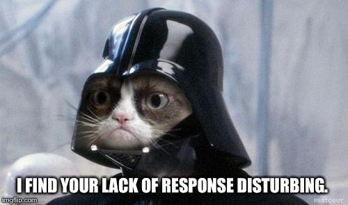 Grumpy Cat Star Wars Meme | I FIND YOUR LACK OF RESPONSE DISTURBING. | image tagged in memes,grumpy cat star wars,grumpy cat | made w/ Imgflip meme maker