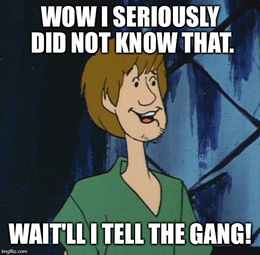 Cartoon shaggy 2 | WOW I SERIOUSLY DID NOT KNOW THAT. WAIT'LL I TELL THE GANG! | image tagged in cartoon shaggy 2 | made w/ Imgflip meme maker