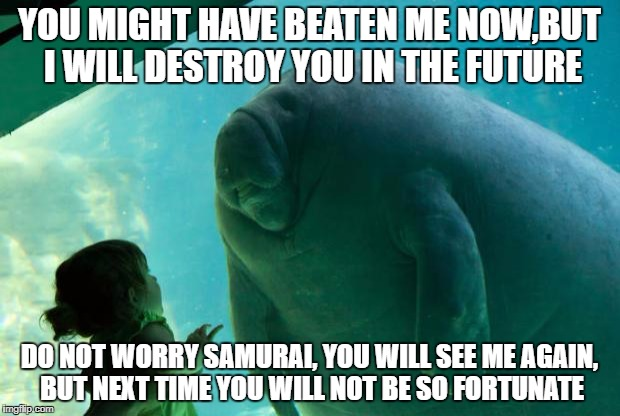 Overlord Manatee | YOU MIGHT HAVE BEATEN ME NOW,BUT I WILL DESTROY YOU IN THE FUTURE DO NOT WORRY SAMURAI, YOU WILL SEE ME AGAIN, BUT NEXT TIME YOU WILL NOT BE | image tagged in overlord manatee | made w/ Imgflip meme maker