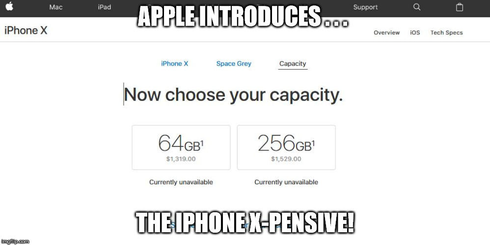 The new iphone | APPLE INTRODUCES . . . THE IPHONE X-PENSIVE! | image tagged in iphone | made w/ Imgflip meme maker