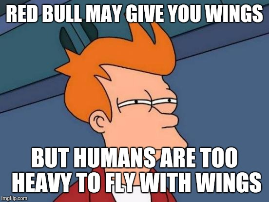 I call false advertising! | RED BULL MAY GIVE YOU WINGS BUT HUMANS ARE TOO HEAVY TO FLY WITH WINGS | image tagged in memes,futurama fry | made w/ Imgflip meme maker