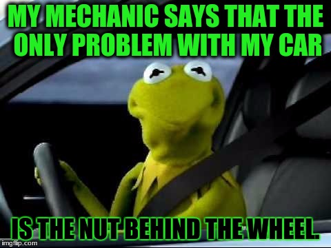 LOL. this is my 7 year old brother | MY MECHANIC SAYS THAT THE ONLY PROBLEM WITH MY CAR IS THE NUT BEHIND THE WHEEL. | image tagged in kermit car,memes,funny,dank memes,deth_by_dodo | made w/ Imgflip meme maker