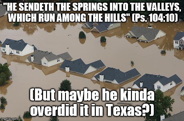 """HE SENDETH THE SPRINGS INTO THE VALLEYS, WHICH RUN AMONG THE HILLS"" (Ps. 104:10) (But maybe he kinda overdid it in Texas?) 