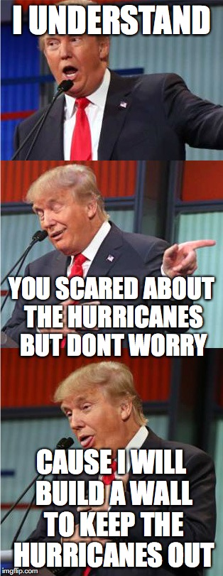 Bad Pun Trump | I UNDERSTAND CAUSE I WILL BUILD A WALL TO KEEP THE HURRICANES OUT YOU SCARED ABOUT THE HURRICANES BUT DONT WORRY | image tagged in bad pun trump | made w/ Imgflip meme maker