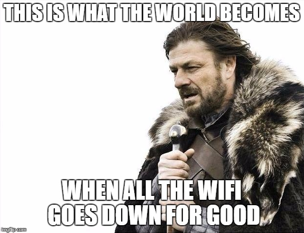 Brace Yourselves X is Coming Meme | THIS IS WHAT THE WORLD BECOMES WHEN ALL THE WIFI GOES DOWN FOR GOOD | image tagged in memes,brace yourselves x is coming | made w/ Imgflip meme maker