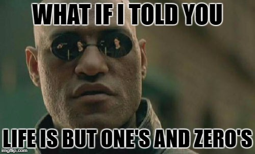 Matrix Morpheus Meme | WHAT IF I TOLD YOU LIFE IS BUT ONE'S AND ZERO'S | image tagged in memes,matrix morpheus | made w/ Imgflip meme maker