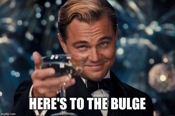 Leonardo Dicaprio Cheers Meme | HERE'S TO THE BULGE | image tagged in memes,leonardo dicaprio cheers | made w/ Imgflip meme maker
