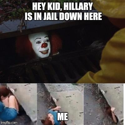 pennywise in sewer | HEY KID, HILLARY IS IN JAIL DOWN HERE ME | image tagged in pennywise in sewer | made w/ Imgflip meme maker