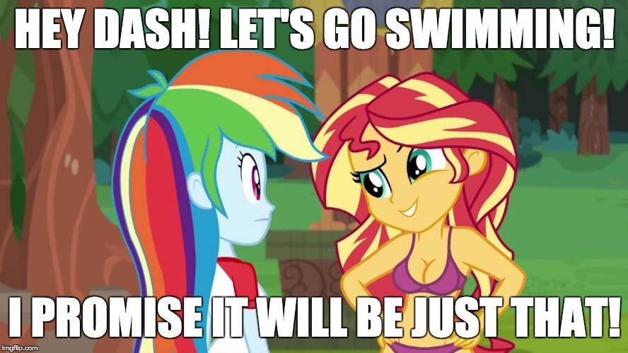 Yeah... sure! | HEY DASH! LET'S GO SWIMMING! I PROMISE IT WILL BE JUST THAT! | image tagged in memes,my little pony,sunset shimmer,rainbow dash,swimming,sure | made w/ Imgflip meme maker